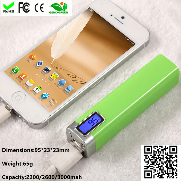 factory direct price portable tube power bank with display 2600mah 18650 case charger for camera bat