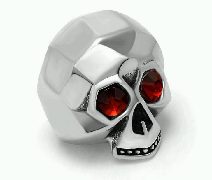 Stainless Steel Red Eyes Skull Ring for Women