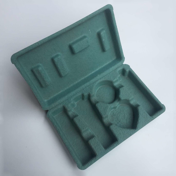 Dry pressing blackish green custom molded pulp packaging disposable cosmetic tray