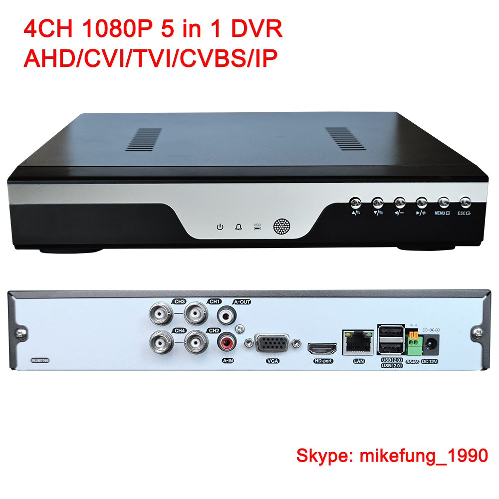 H.264 4 Channel 1080P Video Recorder Support AHD CVI TVI Analog IP Security Cameras 5 in 1 DVR