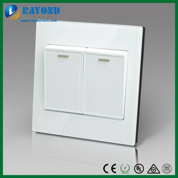 Modern Design Glass Wall Plate 2 Gang Double Pole Wall Switch