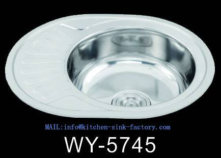 WY-5745 Above Counter utility stainless steel ovel shape kitchen sink with small drainboard