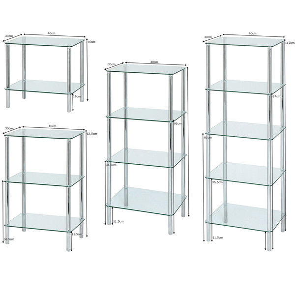 Glass & Chrome Square End Table. 2 colours 3 sizes