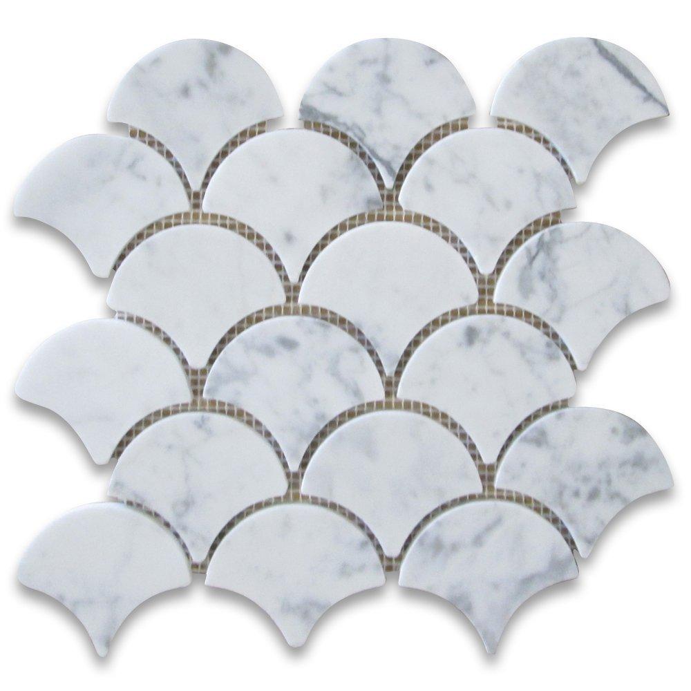 Italian Bianco Carrara White Marble Fish Scale Mosaic Tile