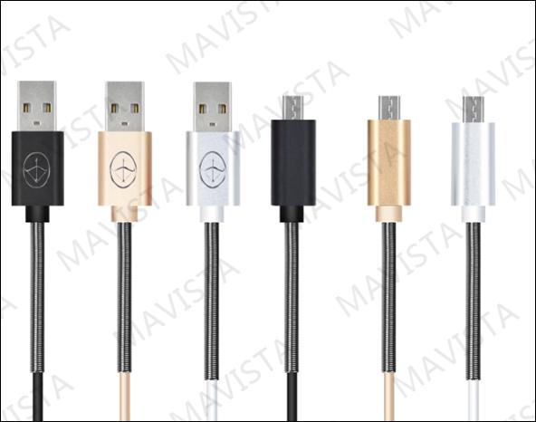 PE Half Spring Metal micro USB Data Cable