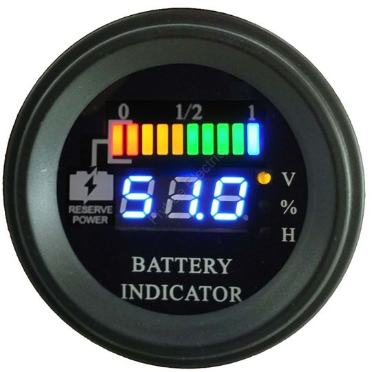 round battery discharge indicator