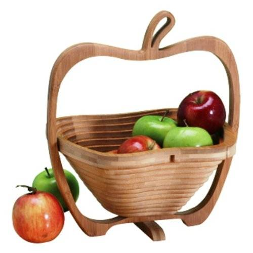 Apple Shaped Bamboo Wooden Foldable Fruit Egg Basket