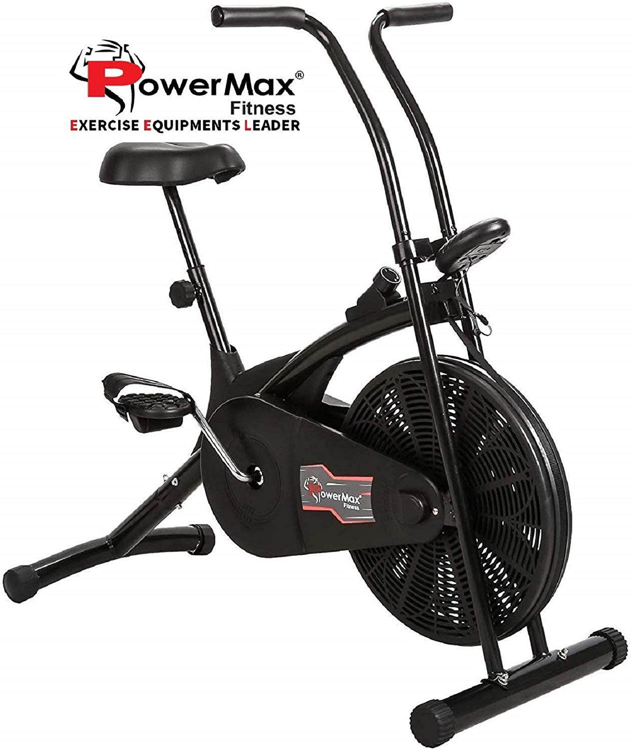 Powermax Fitness BU-203 Air Bike with Fixed Handles - Exercise Cycle for Weight Loss, Cardio Workout