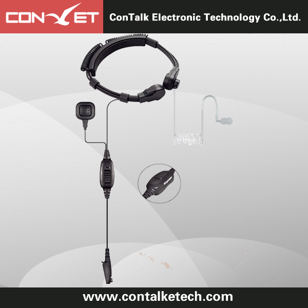 ContalkeTech Throat PTT Mic Covert Acoustic Tube Earpiece for Motorola Kenwood Radios Walkie Talkie
