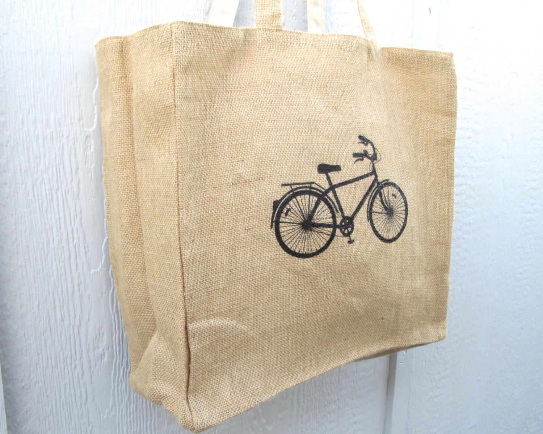 Tote Bag, Bicycle Tote Bag, Jute Tote Bag, Cotton Lining, Reversible Tote Bag, Screen Printed Tote B