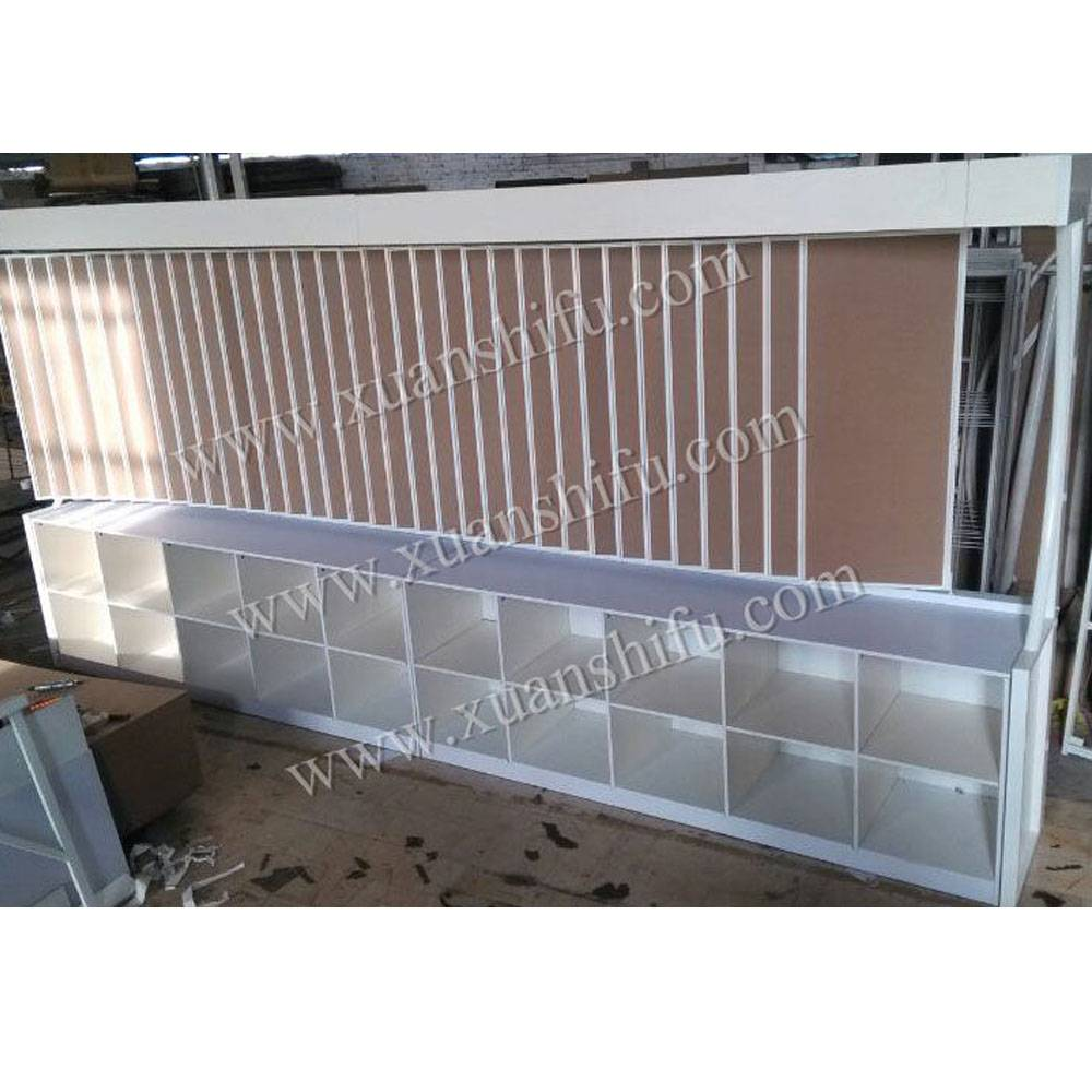 combined together showroom display racks with wall paper