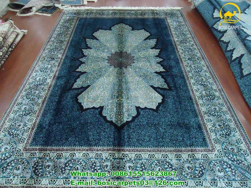230lines Double knots handmade carpet silk persian handknotted carpets vintage rugs