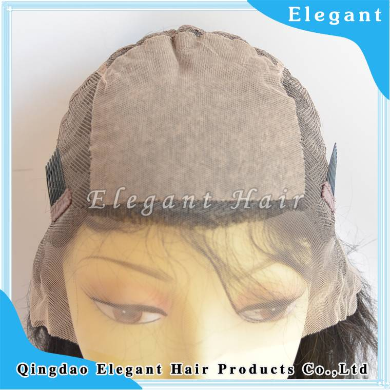 Silky straight indian reny hair silk top in front full lace wig with comb in