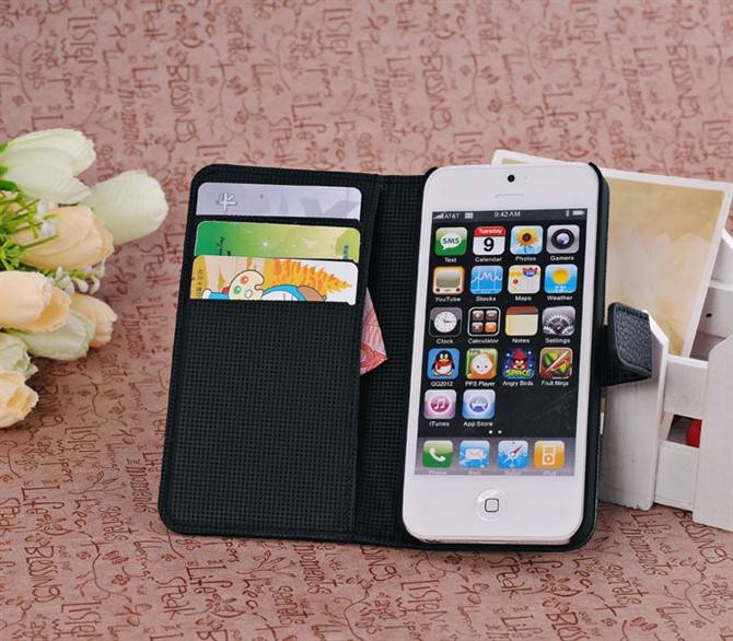 Litchi Pattern Folio PU Leather Case with Holder for iPhone 5G/5S Black USD2.40