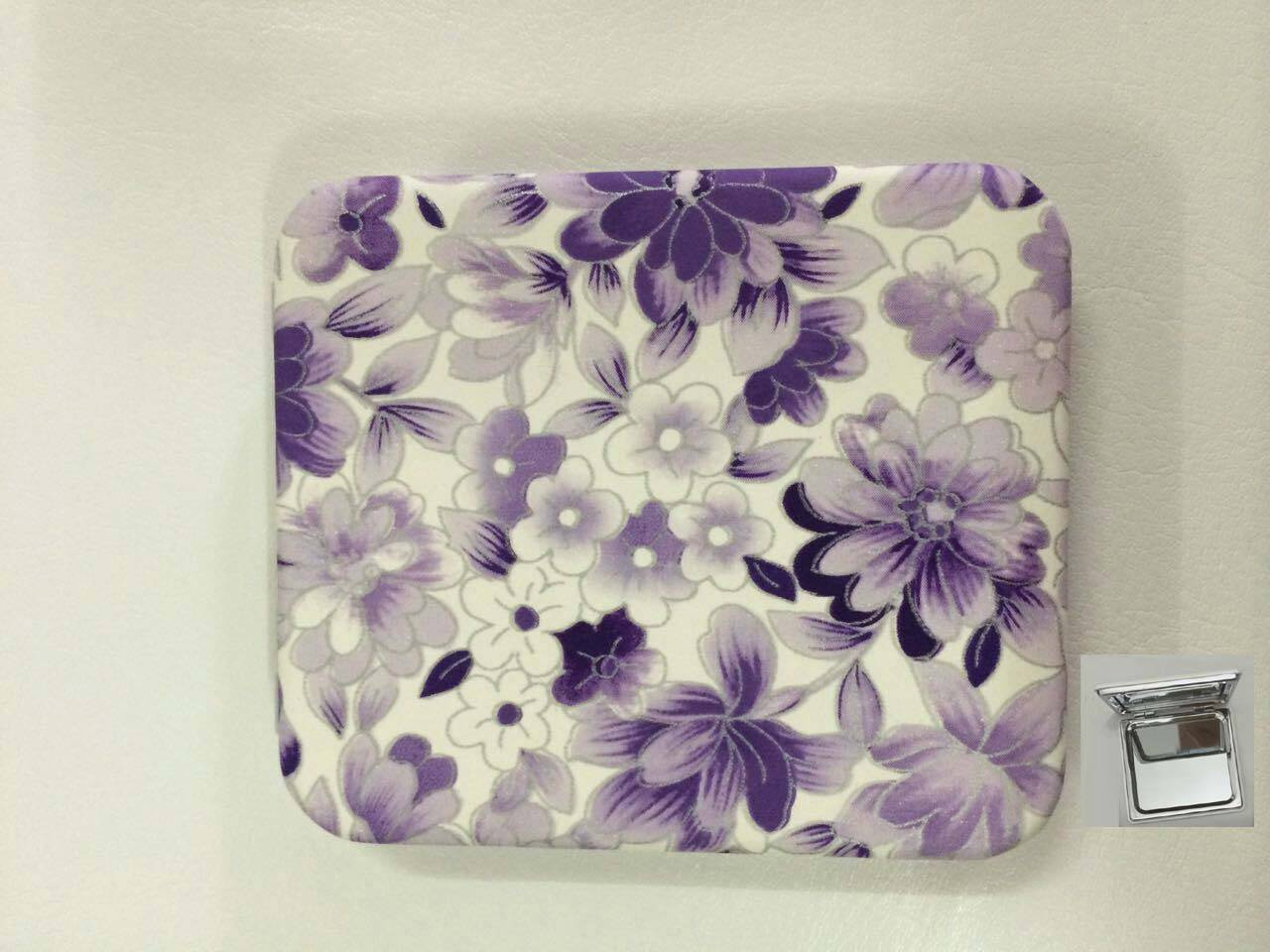 PU Purple Flowers Printing Cosmetic Mirror LFM6234