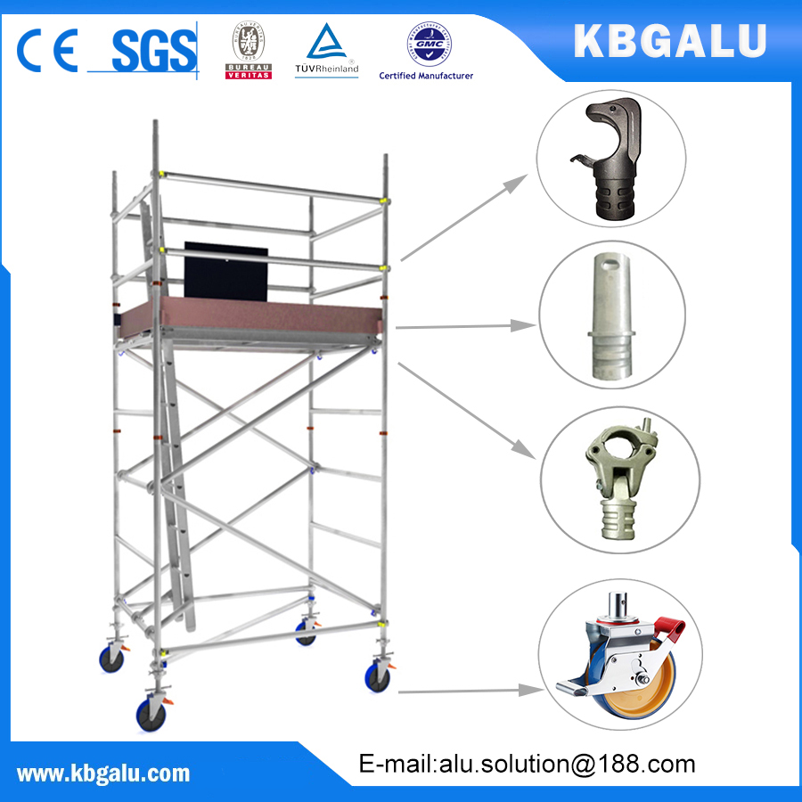 double width aluminum scaffold tower with 2.5m standing height