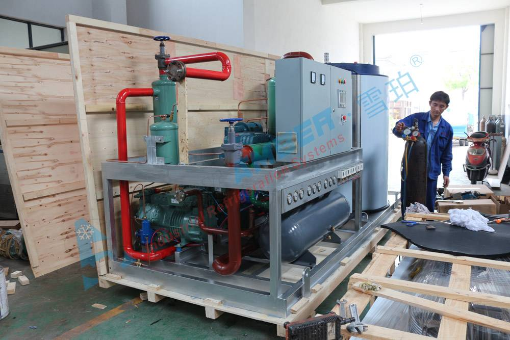 Industrial Used 25 Ton Flake Ice Machine With Water Condensing Unit