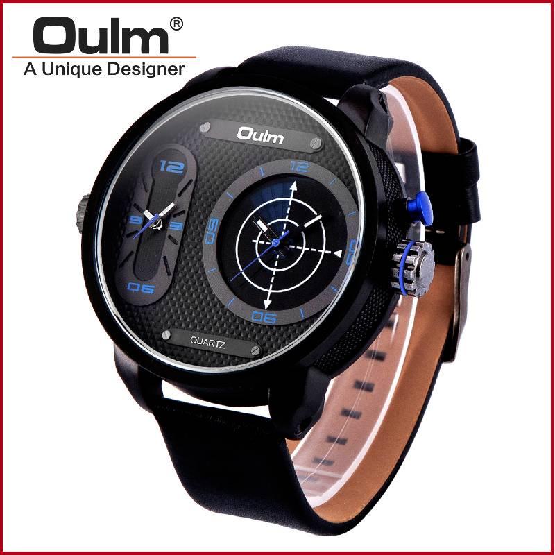 Oulm dual time zone wrist watch, hotsale men watch