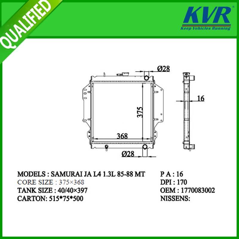 SUZUKI  radiator for   SAMURAI JA L4 1.3L 85-88