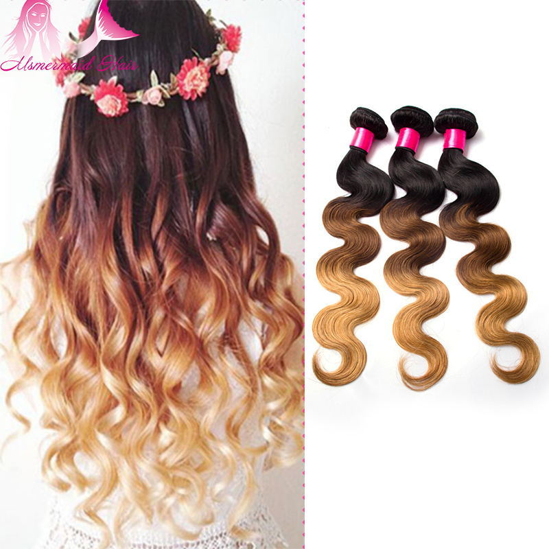 3 Tone Ombre Hair Virgin Malaysian Human Hair Extension 8-30inch Wholesale Cheap Price