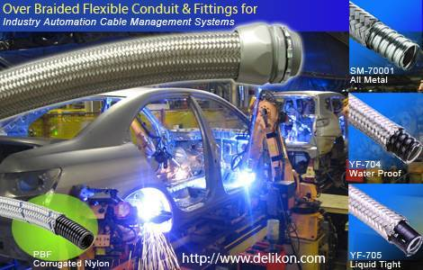Over Braided Flexible Conduit and conduit Fittings For Industry Automation Cable Management