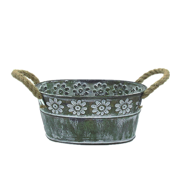 antiqued iron flower planter container
