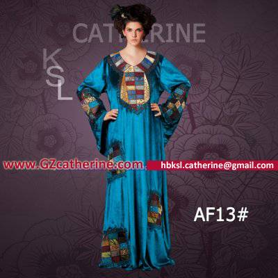 Blue Velvet Embroidery Beaded Long Sleeve Hijab Kaftan Dubai