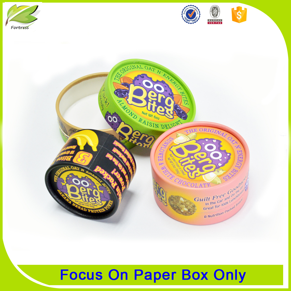 Round printing paper food packaging box containers