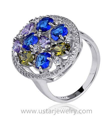 2016 new 925 sterling silver colourful CZ queen princess engagement wedding ring