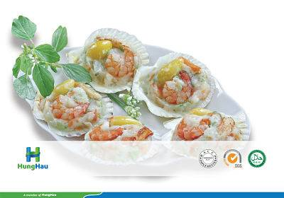 Seafood on scallop shell