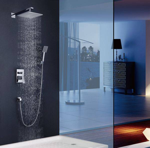 Luxury chrome brass wall mounted bathroom concealed shower faucet with handshower