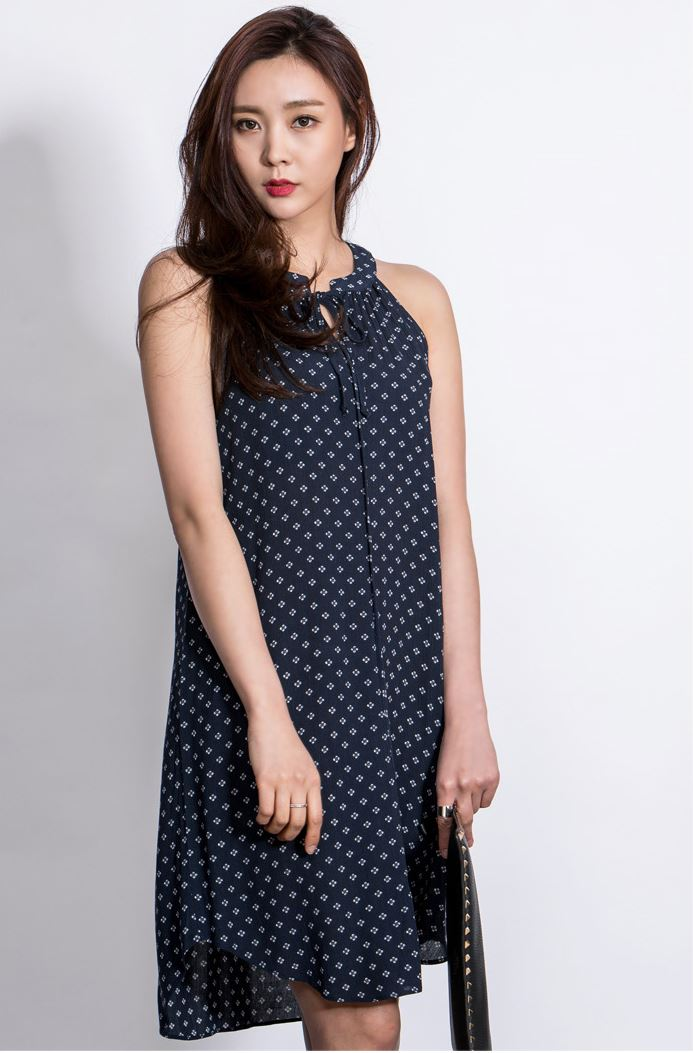 High Fashion Korean Style New Ladies Cute Beautiful Flower pattern Sleeveless dress for women