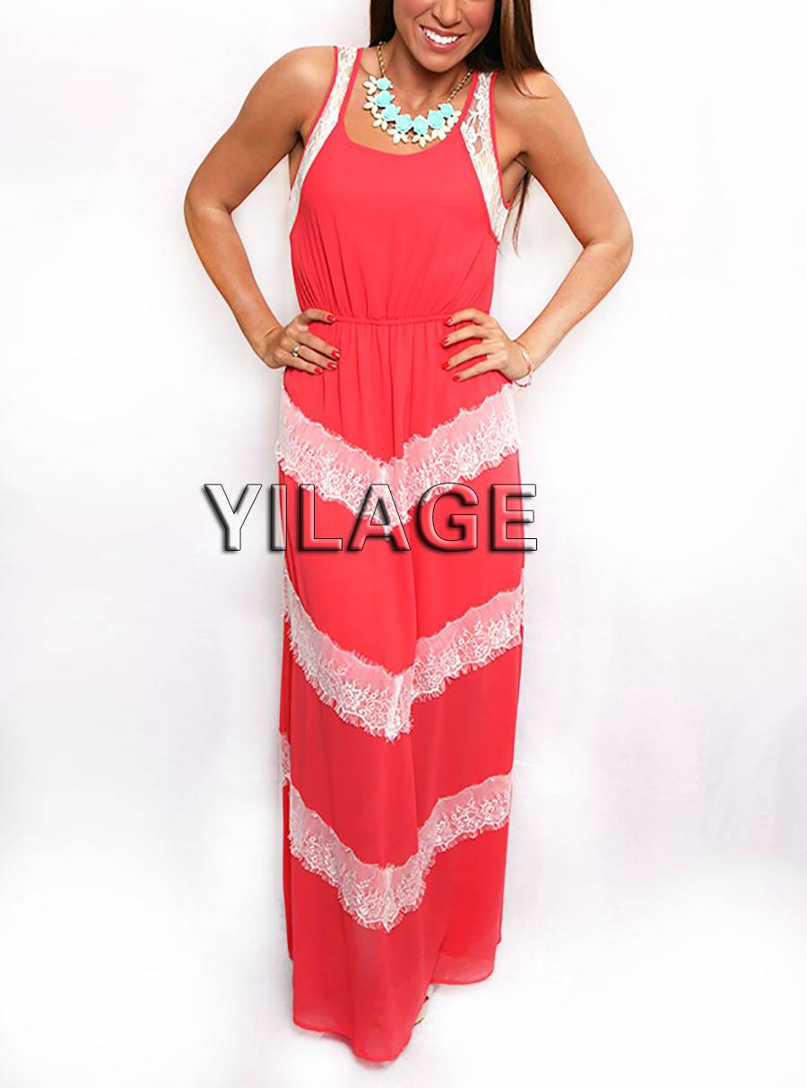 Hot sale Summer Lady sleeveless Chevron Lace Maxi Dress