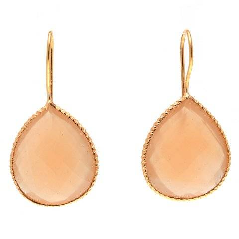 925 sterling silver Peach Chalcedony Gemstone Earring-Vermeil Gold