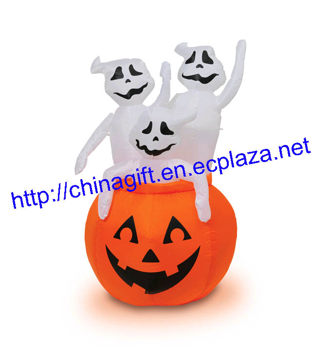 Pumpkin with 3 Ghosts Light-Up Airblown Inflatable Decoration