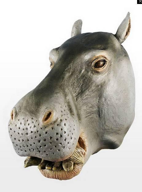 Youtumall Latex Gray Hippo Mask Animal Costume Mask