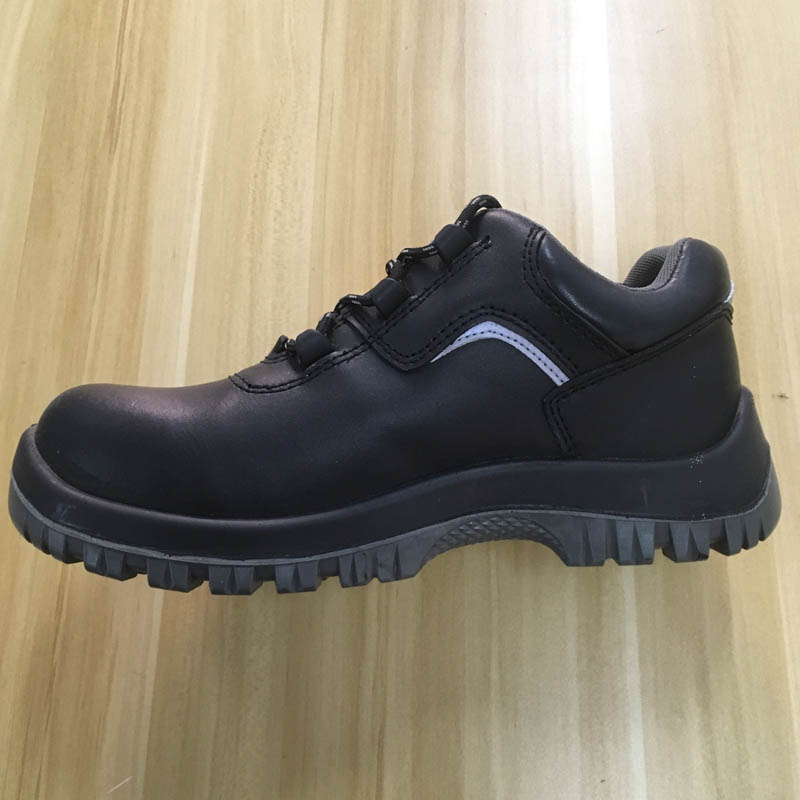 black genuine leather PU sole safety shoes with steel toe