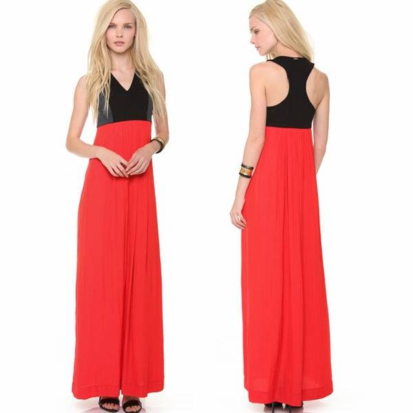 lady elegant sleeveless factory price OEM maxi dress,latest beautiful black and red fashion dresses,