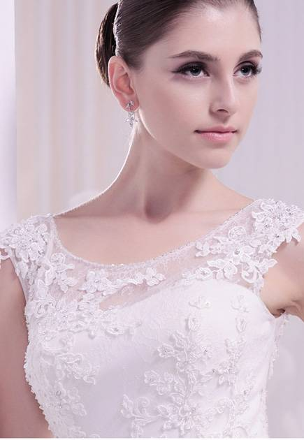 Scoop lace beaded applique satin belt chapel train wedding dress