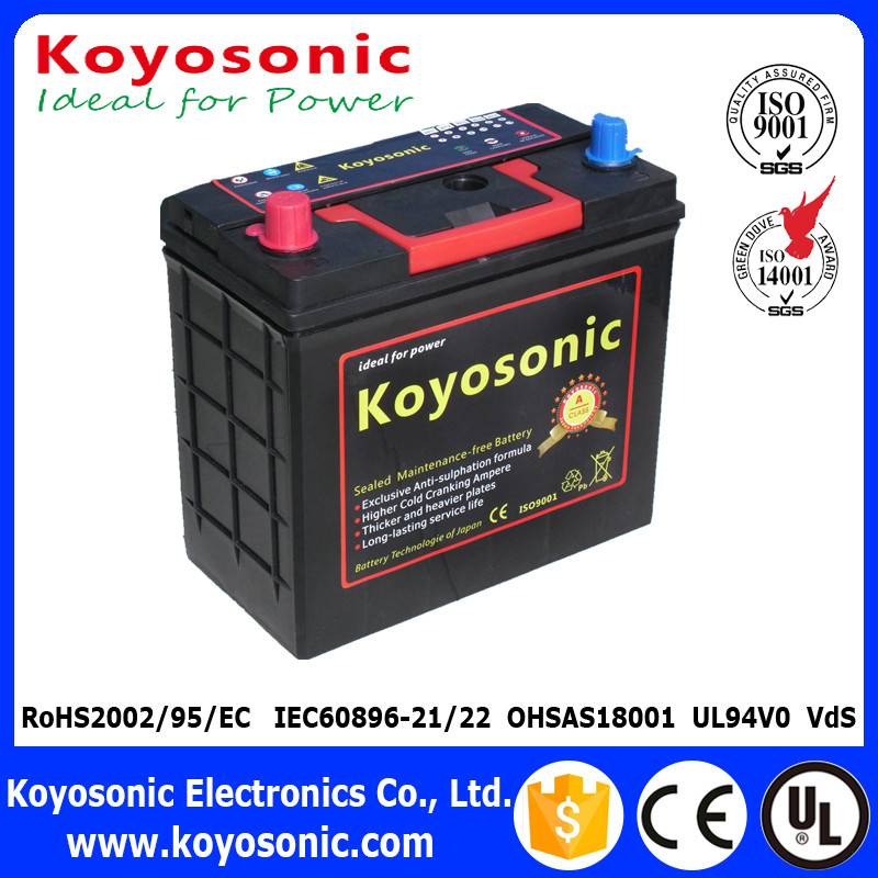 JIS Standard 12V 45AH Sealed Maintenance Free Car Battery With Lead Calcium Technology