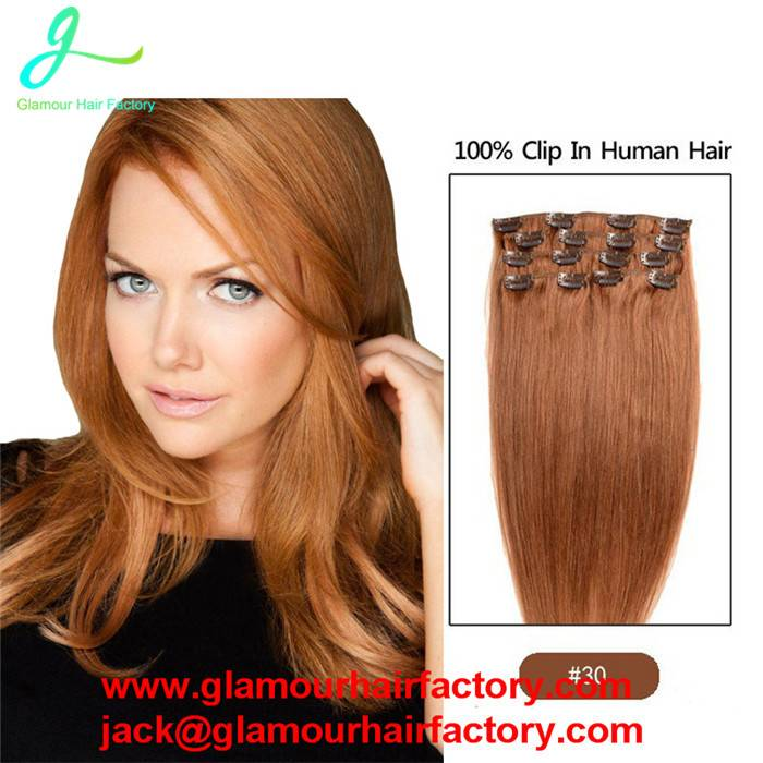 Clip in Human Hair Extensions #4 Remy Virgin Brazilian human hair clip in extensions