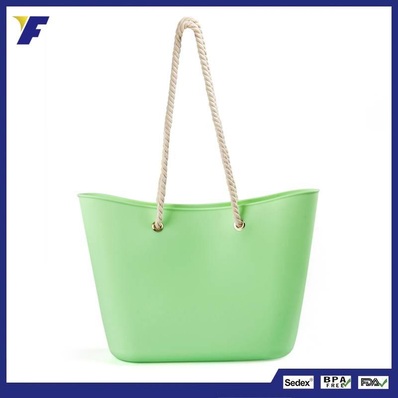 Lady Fashion Silicone Shoulder Bag/Women Silicone Tote Handbag/Hot Silicone Candy Jelly Beach Handba
