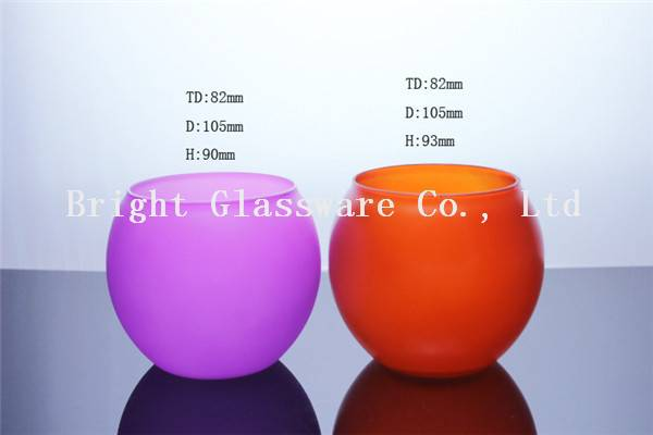 colorful blown hurricance glass candle holder