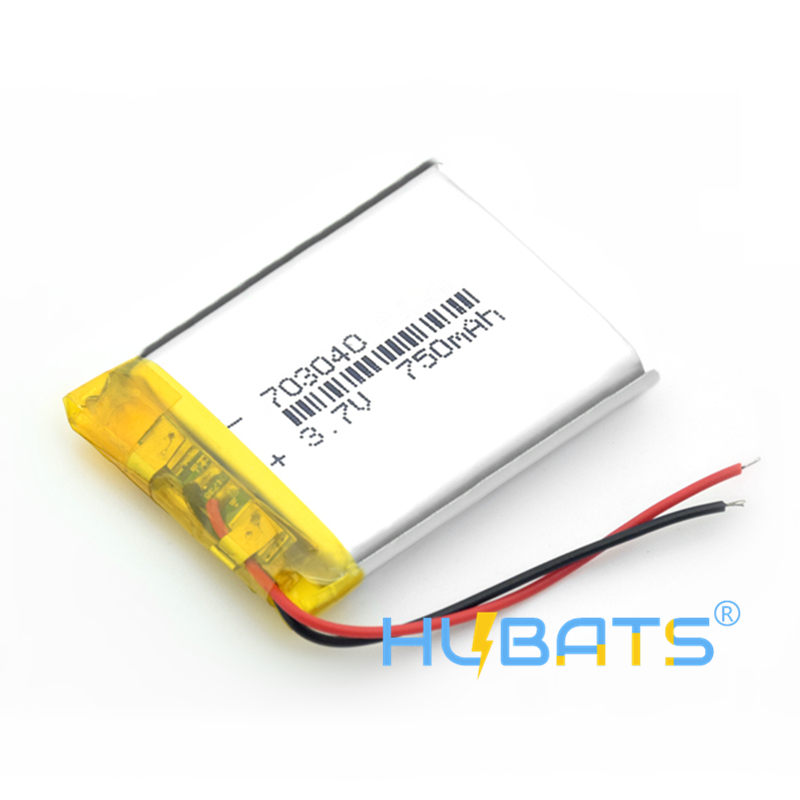 Hubats 703040 750mAh 3.7v Li-po Rechargeable Lithium Batteries For LED Light MP3 MP4 Cell Phone DVD