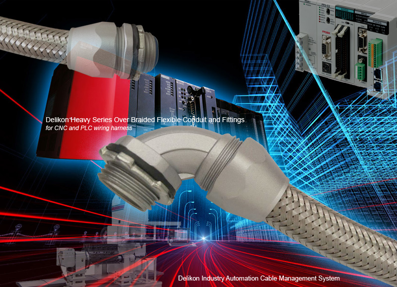 Delikon Heavy Series Over Braided Flexible conduit Heavy Series Fittings protect industrial ethernet