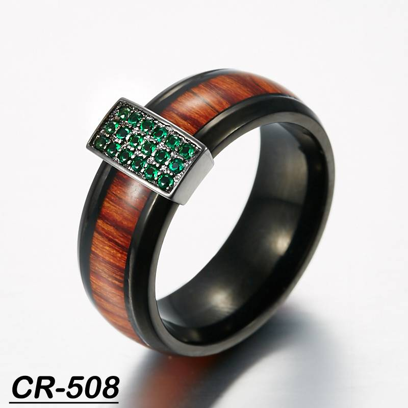 Santos Rose Wood inlay tungsten wedding ring black plated silver with cz