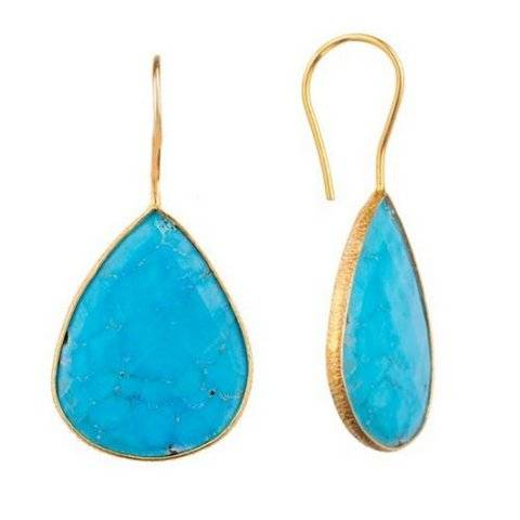 925 sterling silver Turquoise Gemstone Earring-Vermeil Gold