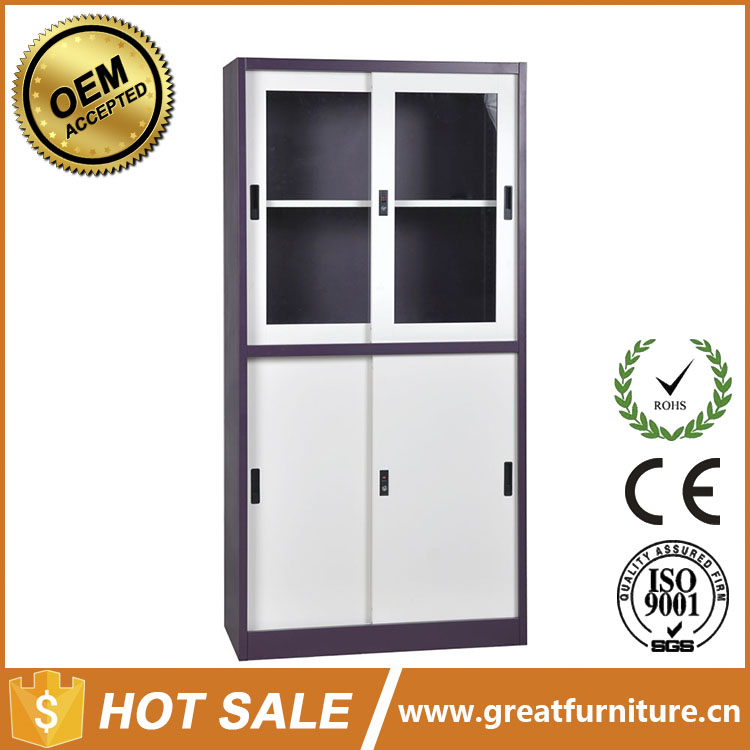 Professional Production Half Height Two Glass Sliding Door Stainless Steel File Cabinet with Price