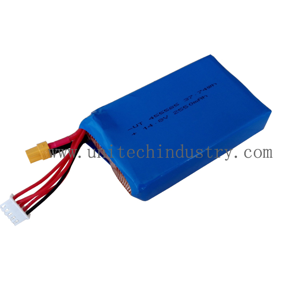 High rate Rechargable 5C continuous discharge drone rc li-polymer battery pack 455585 2550mAh 14.8V