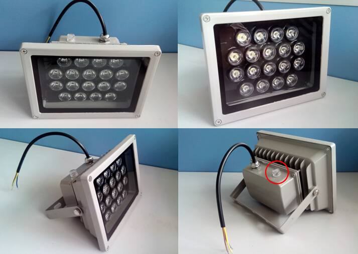 Waterproof IP65 Light Sensor 54W High Power LED Flood Light for Outdoor Using 18X3w LED Light Sensor